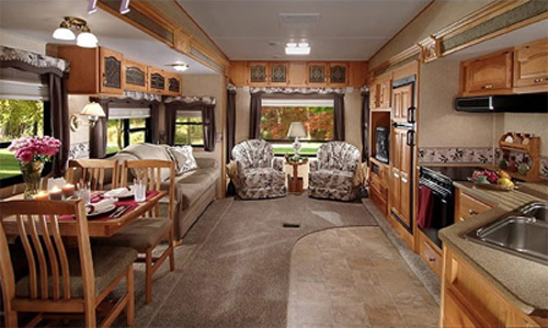The Interior view of a Fifth Wheel RV