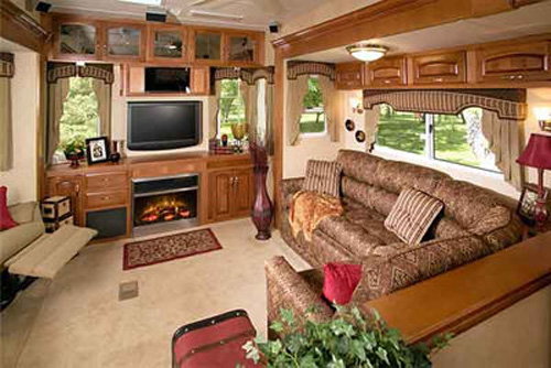The living area view of a Fifth Wheel RV
