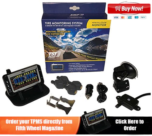 Fifth wheel tire pressure monitoring kit